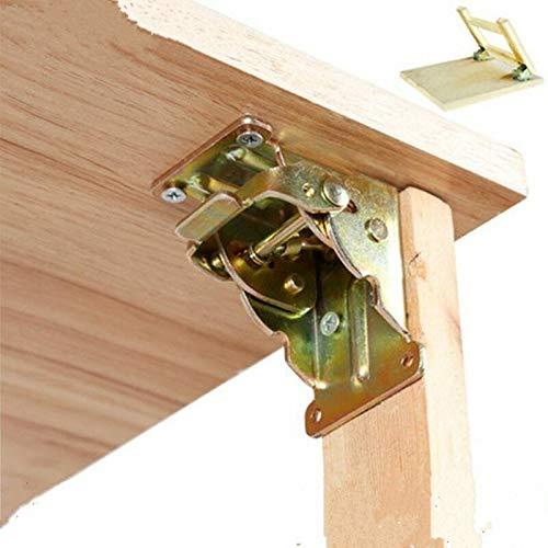 SHT Hierro Plegable Bisagra Pata de la Mesa Plegable for Soportes Tablas Silla Plegable Mesa de extensión Auto Bloqueo Fold Pies Bisagras (Color : Silver)
