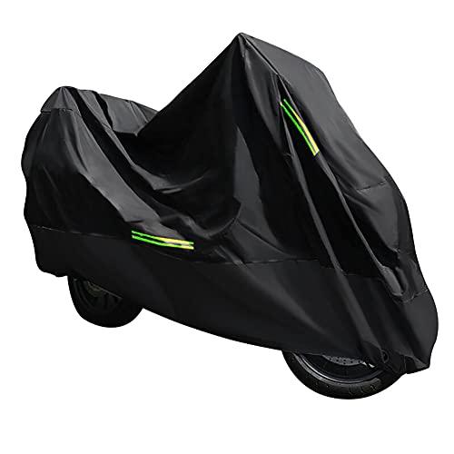 Ruosaren Funda protectora para moto, cubierta para moto, scooter, cubierta protectora para bicicleta, accesorio exterior, protección de las motocicletas, agujero para llave, color negro