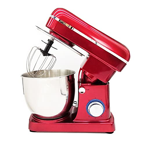 High Power 1500W Stand Mixer, Tilt-Head 5L Rofessional Home Dough Blender, 6 Speed with Stainless Steel Mixing Bowl, Dough Hook, Beater, Whisk (Color : Red)