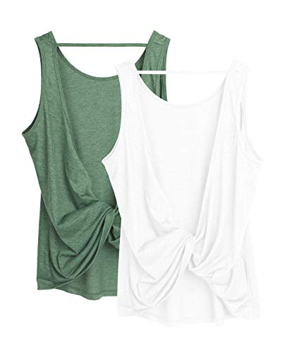 icyzone Workout Tank Tops for Women - Open Back Strappy Athletic Tanks, Yoga Tops, Gym Shirts(Pack of 2) (XL, White/Green)