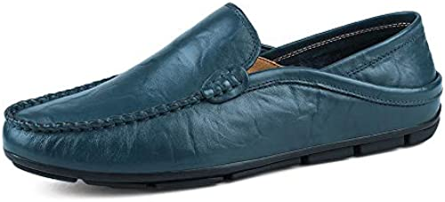 Easy Go Shopping Herrenmode Mokassins Wave Sohle Soft & Super Light Slip On Driving Loafer,Grille Schuhe (Farbe   Blau, Größe   43 EU)
