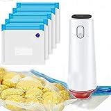 Vakuumiergerät, wiederverwendbar, Vakuumiergerät für Lebensmittel, mit 5 Vakuumbeuteln, wiederaufladbarer Vakuumierer, praktisch für die Aufbewahrung von Lebensmitteln und zum Vakuumgaren