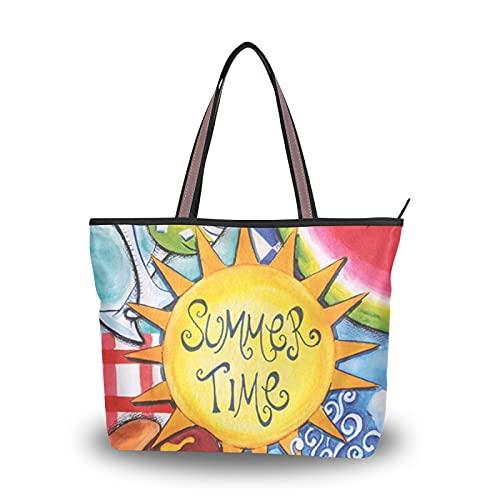 NaiiaN Geldbörse Einkaufen für Mutter Frauen Mädchen Damen Student Leichtgewicht Gurt Handtaschen Sommerspaß Wassermelone Hotdog Picknick Grill Sonnenschein Umhängetaschen Einkaufstasche