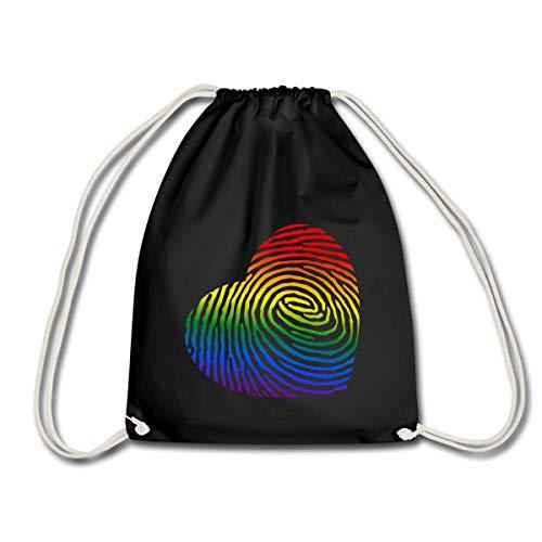 Spreadshirt Regenbogen Herz Fingerabdruck LGBT Turnbeutel, Schwarz