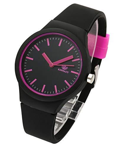 JSDDE Uhren Damenuhr Armanduhr Candy Farbe Silikonband Sportuhr Lässig Analog Quarzuhr Watchs für Frauen Mädchen Jungen (Schwarz)