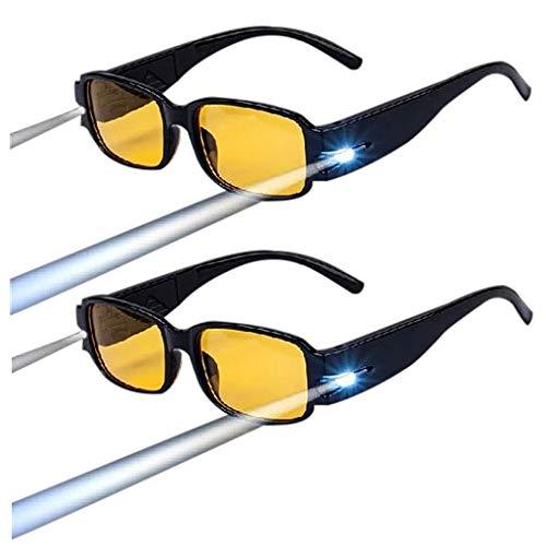 BWBZ Gafas de Lectura LED Gafas de Lectura HD 2 Piezas Lentes de Resina Montura De PC Protección contra La Radiación UV Almohadillas Nasales Integradas Gafas de Lectura Multifuncionales
