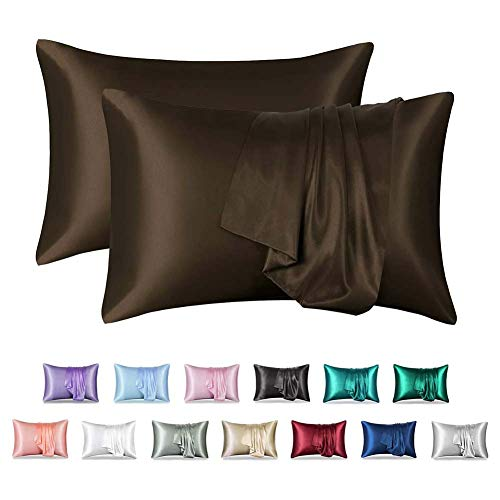 XNDCYX 100% Mulberry Silk Pillowcase for Hair and Skin, 2-Pack Pillow Cases, Satin Pillow Covers with Hidden Zipper, Soft and Cozy Luxury Pillow Protectors, Best Sleep,Brown,20x26in