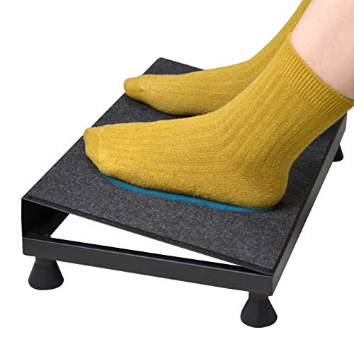 SurmountWay Ergonomic Foot Rest,Max-Load 120Lbs with Non-Slip Panel and 4 Rubber Support Legs for Under Desk, Home,Office