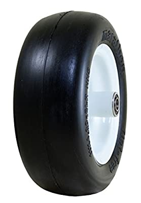 "Marathon 11x4.00-5"" Flat Free Lawnmower Tire on Wheel, 5"" Centered Hub, 3/4"" Bushings"