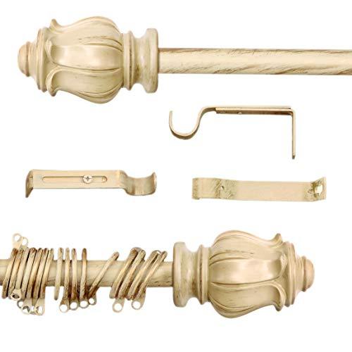 AT17 Gardinenstange Vorhangstange Gardinenstange Variable Länge Landhaus Shabby Chic - Tulpe - 160-300 - Durchmesser 2 cm - Elfenbein Dunkel/Gold - Metall