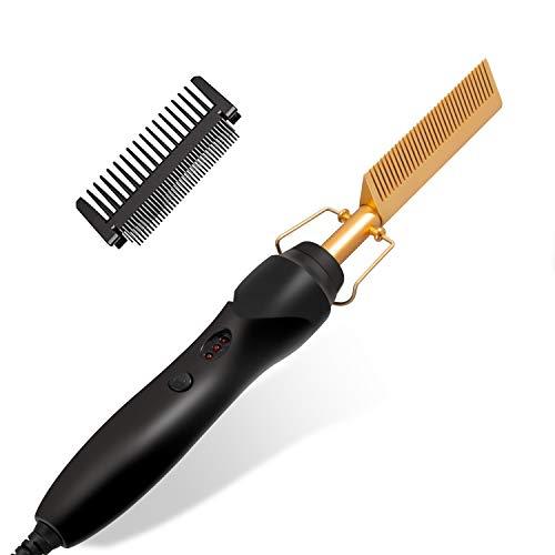 Haarglätter Bürste,Professional Glätteisen Haare 2 in 1 Haarglätter Kamm,Glättbürste Locken,Haarglätter Kämmen Stylen der Haare Hot Comb Afro Hair für Nasses Trockenes Haar Wigs