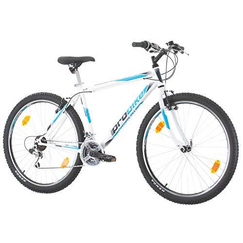 Multibrand, PROBIKE PRO 27, 27.5 Pollici, 483mm, Mountain Bike, Unisex, 21 velocità Shimano (Bianco/Grigio-Verde + Parafango)