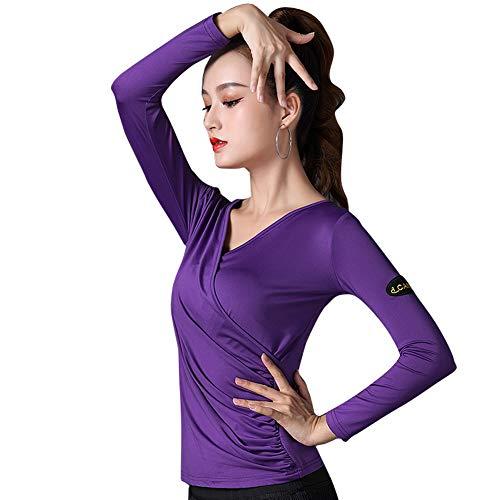 [L-night](エル‐ナイト)レディース ダンス用シャツ長袖トップス 紫 Tシャツ フラダンス 社交ダンス ラテンダンス フラメンコ衣装 ダンスウェア 練習着 モダン 競技用 ベリーダンス ブラウス (L)