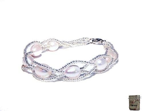 Original Enez Echt Süßwasser Zucht Perlenkette Armband Armkette Armreifen 18cm R1334 + Geschenkbeutel