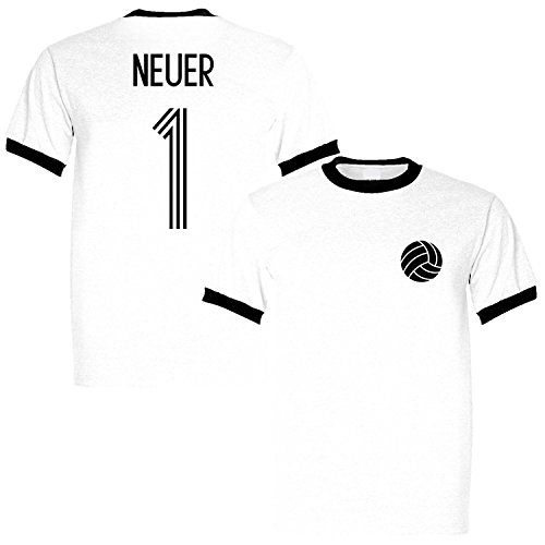 Manuel Neuer 1 Germany Legend Ringer Retro T-Shirt White/Black, X-Large