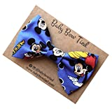 Handmade Blue Mickey Mouse Pre-tied Clip on Bow Tie for Baby/Toddler