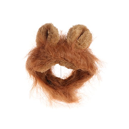 Judyd Disfraz de Mascota Cosplay Gato Leones Melena Peluca Lindo Perro Gorra Sombrero Vestido de Navidad con Orejas, Dorado Mascota Gato Len Peluca Tocado, Dorado