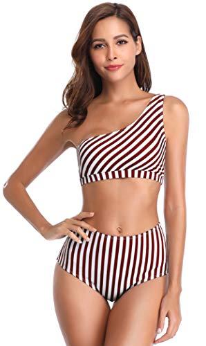 SHEKINI Damen Zweiteiliger Streifen Bikini-Set Schulterfrei Sexy Bademode High Waist Bikinihose Bauchweg Schlanker Schick Bikini Strandkleidung (S, EIN-Schulter-Weinrot)
