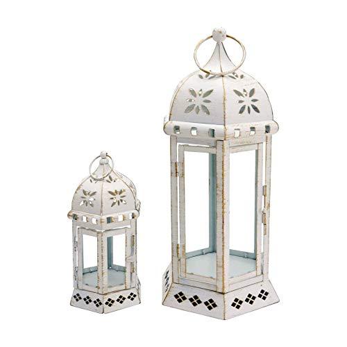 Rebecca Mobili Set 2 Porta Candela, Lanterne Decorative, Metallo Vetro, Stile Vintage, per Fiori Candele, Interno Esterno - Misure: 35 x 17,5 x 15,5 cm (HxLxP) - Art. RE6552