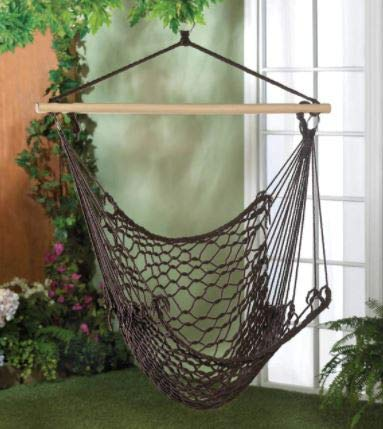 N.1 Hammock Chair Macrame Swing, Hanging Recycled Cotton Macrame, or Padded Cotton Hammock Swing Chair, for Indoor, Outdoor Home, Patio, Porch, Deck, Yard, Garden (Recycled Cotton-Dark Brown)
