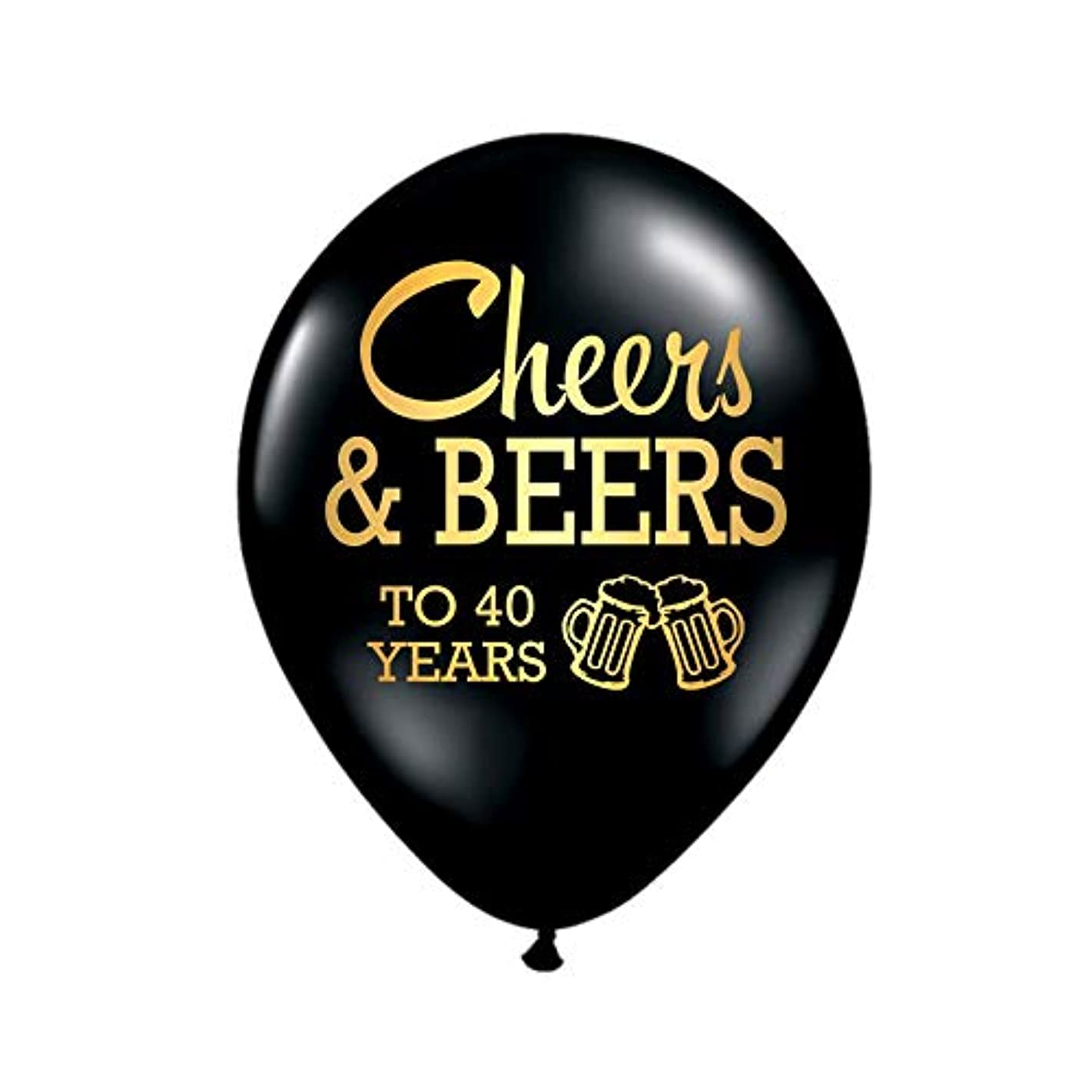 White Rabbits Design Cheers and Beers to 40 Years Balloons, 40th Birthday Party Balloons, Set of 3, 40th Birthday Party Decorations, 40th Birthday Ideas, Balloons, Metallic Gold and Black, Beers