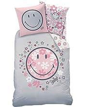 Smiley - Ropa de cama para niña, diseño de flores y estrellas, color rosa, gris, funda de almohada de 80 x 80 cm y funda nórdica de 135 x 200 cm