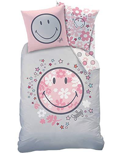 Smiley Mädchen-Bettwäsche · Happy Flower · Blumen & Sterne in rosa, grau · Kissenbezug 80x80 + Bettbezug 135x200 cm - Jugendbettwäsche/Teenagerbettwäsche