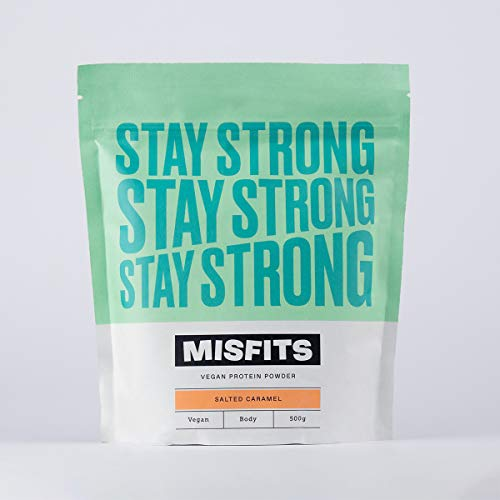 Misfits Vegan Protein Powders - 100% Plant Based, Natural and Gluten-Free Protein Shake - Stay Strong Salted Caramel (500g, 20 Servings)