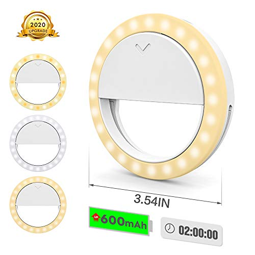 Selfie Ring Light,Clip on Phone LED Light,[3+1 Light Modes] Portable 600mAh Battery,Use While Charging, Adjustable Brightness Selfie Circle Light for iPhone for Laptop Photography,Live Camera,Make up