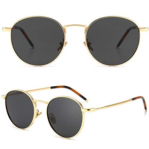 SUNGAIT Gafas de Sol Polarizadas Vintage Redondas Marco de Metal Retro Clásica Gafas de Sol Circular para Mujer Hombre-SGT059(Marco Oro / Lente Polarizada Gris)