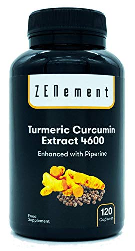 Curcuma concentrée 4600mg, 120 capsules, avec poivre noir, antioxydant puissant, pour la santé des articulations, avec racine de curcuma très concentrée, sans OGM, 100% naturel
