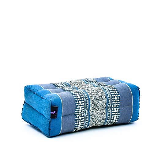 Leewadee Blocco Yoga Pilates Block Mattoncino Cuscino Yoga Prodotto Naturale Ecologico, 35x18x12 cm, Kapok, Azzurro