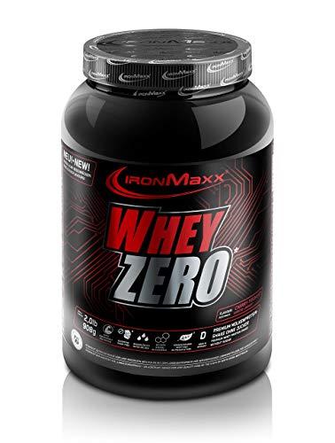 IronMaxx Whey Zero Protein - 908g Pulver - 18 Portionen - Kirsche Joghurt - Molkenprotein mit 97 % Whey Anteil - Zuckerfreies Protein Isolat für den Muskelaufbau - Desgined in Germany