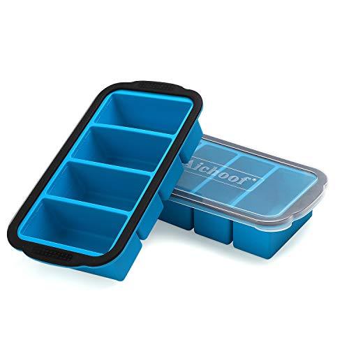 1 Tasse extra großes Gefriertablett für Suppe, Brühe, Soße, Eiswürfelbehälter mit Deckel, Silikon-Gefrierbehälterformen Suppenschalen - macht vier große Portionen 1 Tasse Cube-2 Packung (Blau)