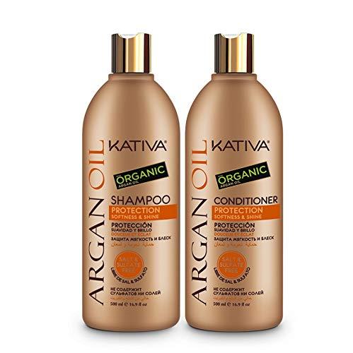 Pack Kativa Argan Oil Champu 500 ml + Acondicionador 500 ml Sin Sulfatos Sin Sal