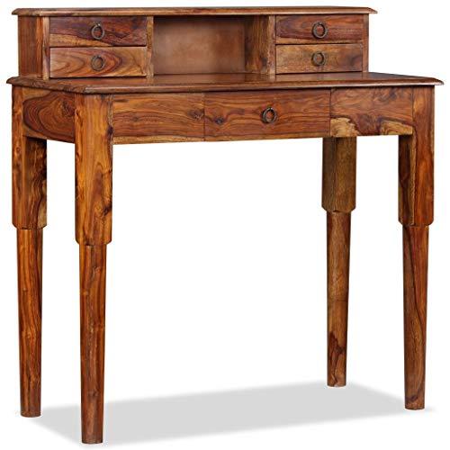 vidaXL Sheesham-Holz Massiv Schreibtisch mit 1 Staufach 5 Schubladen Palisander Computertisch Bürotisch Arbeitstisch PC Tisch 90x40x90cm