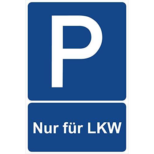 Parkplatzschild Nur für LKW Parken Schild Blau 30 x 20 x 0,3 cm Kunststoff Parkplatzmakierung Parken Parkplatzschilder Parkplatz Hinweisschild, Verbotsschild, Parkplatz Freihalten