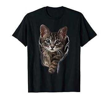 Brown Kitten Staring Cute T-Shirt Cats Tee Shirt Gifts
