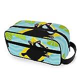 DOSHINE Hello Summer - Neceser portátil con diseño de Hojas de Palma de Gato Negro