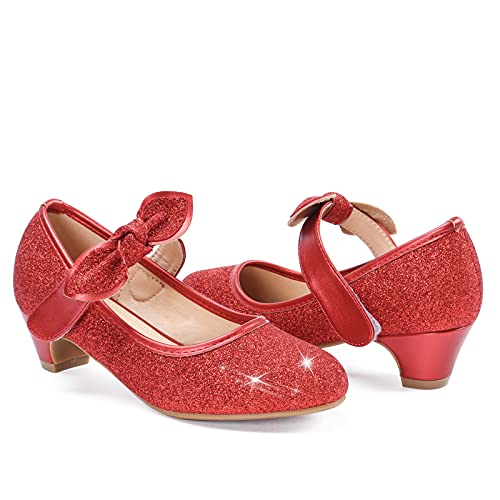 ADAMUMU Dress Shoes for Girls Glitter Princess Dress Up Party Shoes Low Heel Shoes for Little Kid Cute Sparkle Flats for Big Child Fashion Wedding Birthday Gift,Glitter Red,Size 3M