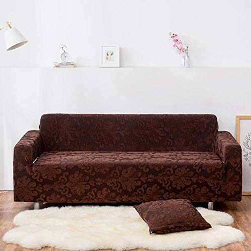 AKTYGB Funda para Sofá Elasticas de 4Plazas- 3D Lmpresión Fundas Decorativas para Sofás(Gratis 2 Funda de Cojines) Universal Muebles Fundas Decorativas para Sofás - Patrón Marrón