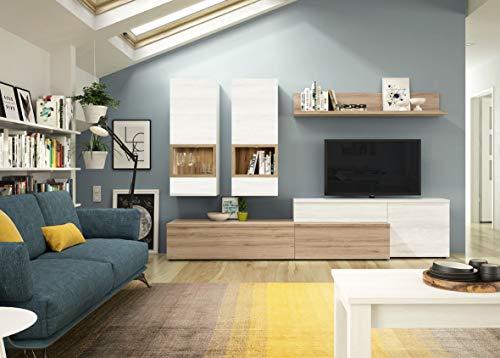 Wohnwand Neo 12 Eiche Weiß- inklusive Wandboard mit Rückand und Hängevitrinen