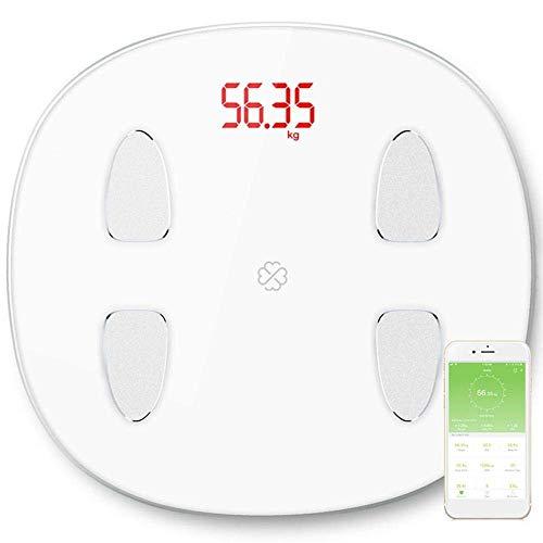 BINGFANG-W Discs Waage Personenwaage, Smart-Körperfett-Monitor-Skala, elektronische LED Digitalanzeigen Bluetooth Waage, 180Kg, Weiss Abrasive