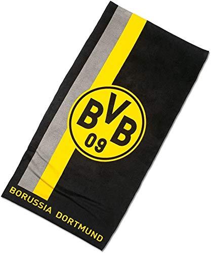 Borussia Dortmund Badetuch/Duschtuch/Strandtuch mit Logo im Streifenmuster BVB 09 - Plus gratis Aufkleber Forever Dortmund