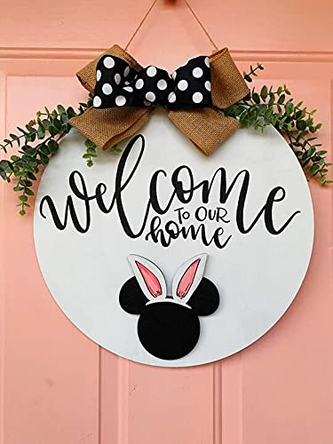 yongyuan Mother's Day Interchangeable Welcome Sign Door Hanger with 20 Different Logos, Magical Cute Mi-ckey Mouse Decoration and Gifts