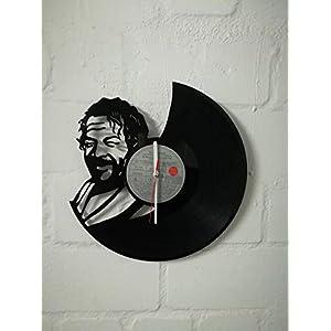 Wanduhr aus Vinyl Schallplattenuhr mit Bud Spencer Motiv upcycling design Uhr Wand-deko vintage-Uhr Wand-Dekoration…