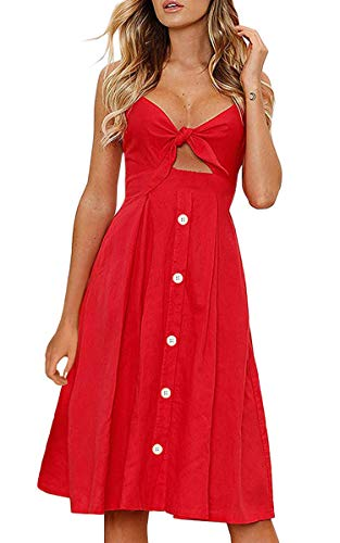 ECOWISH Womens Dresses Summer Tie Front V-Neck Spaghetti Strap Button Down A-Line Backless Swing Midi Dress 1603 Red2 S