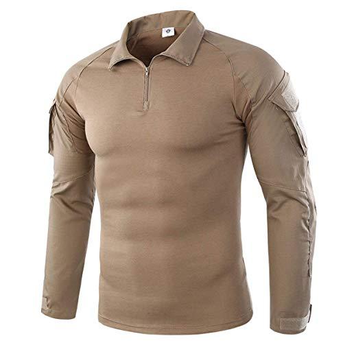 Chemise de Combat Militaire Tactique Homme Tenue Airsoft Chasse Shirt Camouflage Tactique Uniforme à Manches Longues (S, Kaki)