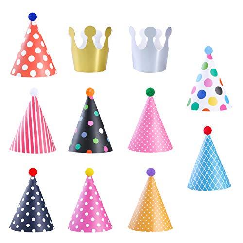 BoloShine 11 Stücke Partyhüte, 9 Kegel Hüte mit Pom Poms & 2 Kleine Kronen, Schöne Geburtstag Dekoration Set Papier Hüte für Familienfeiern, Kinder und Erwachsene