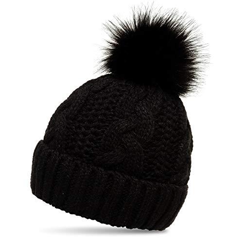 Caspar MU209 Gefütterte Damen Strick Mütze mit tierschutzgerechtem Kunstfell Bommel, Farbe:schwarz, Größe:Einheitsgröße